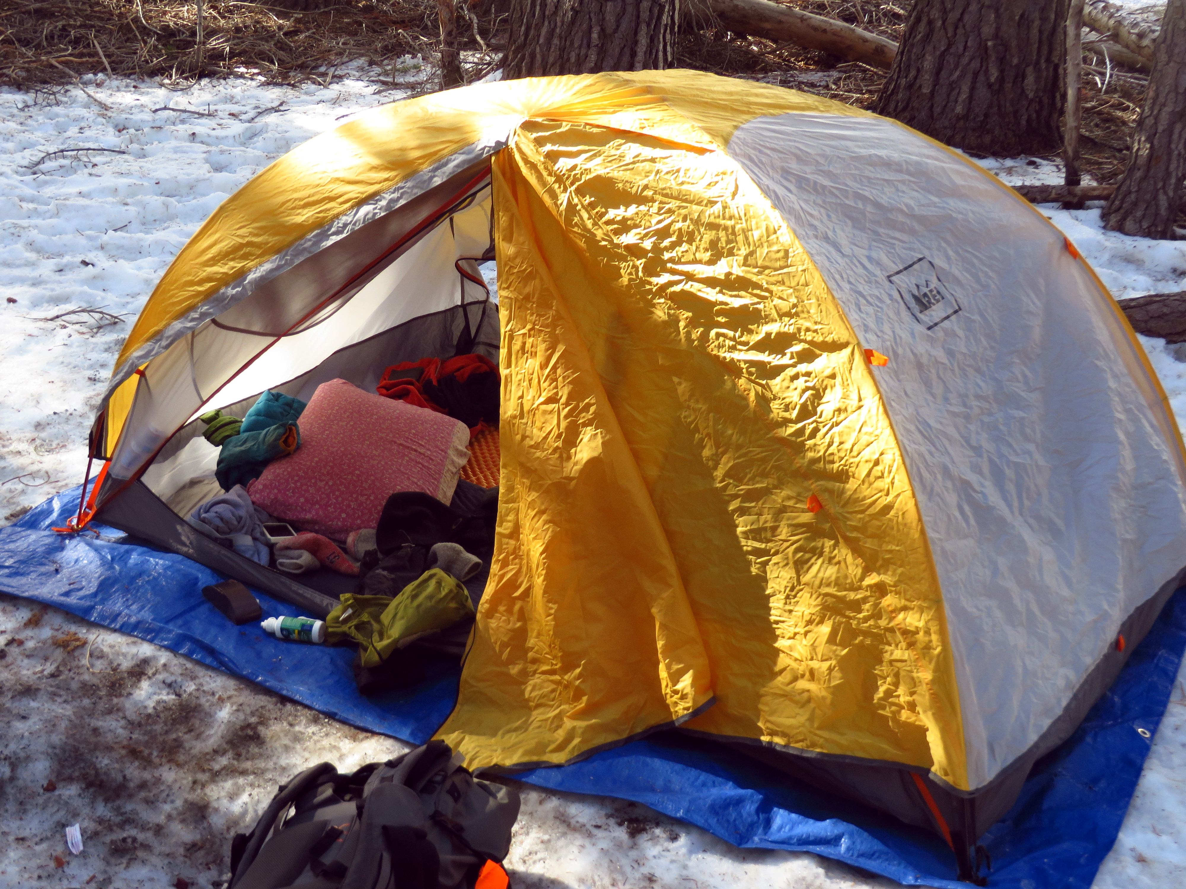 Laugh if you must; but I've never regretted carrying a full-size pillow on a backpacking trip.    (photo by D. Speredelozzi)