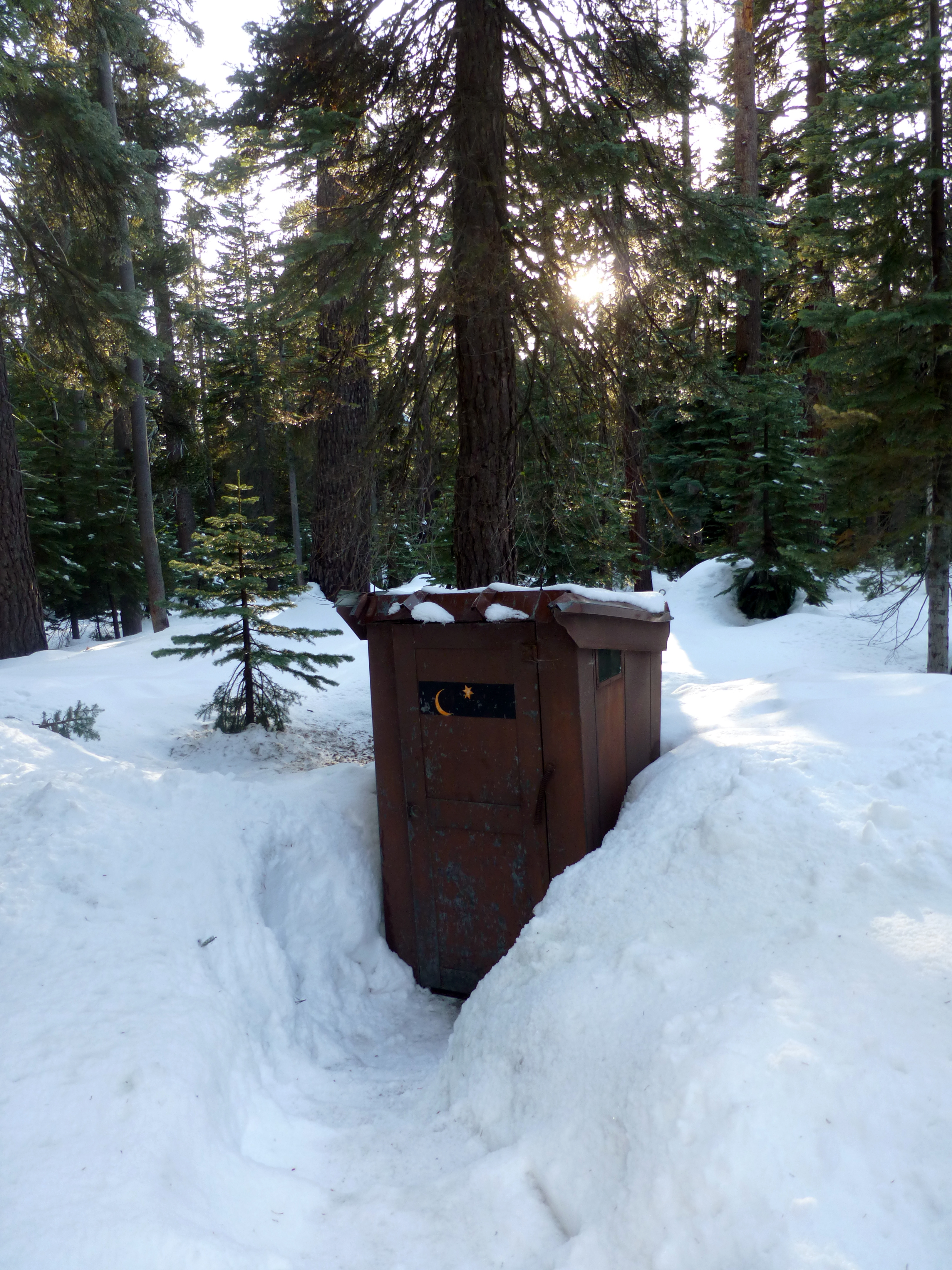 Do I smell? I smell home cooking. It's only the outhouse, only the outhouse. Good place to get some thinking done. (photo by D. Speredelozzi)