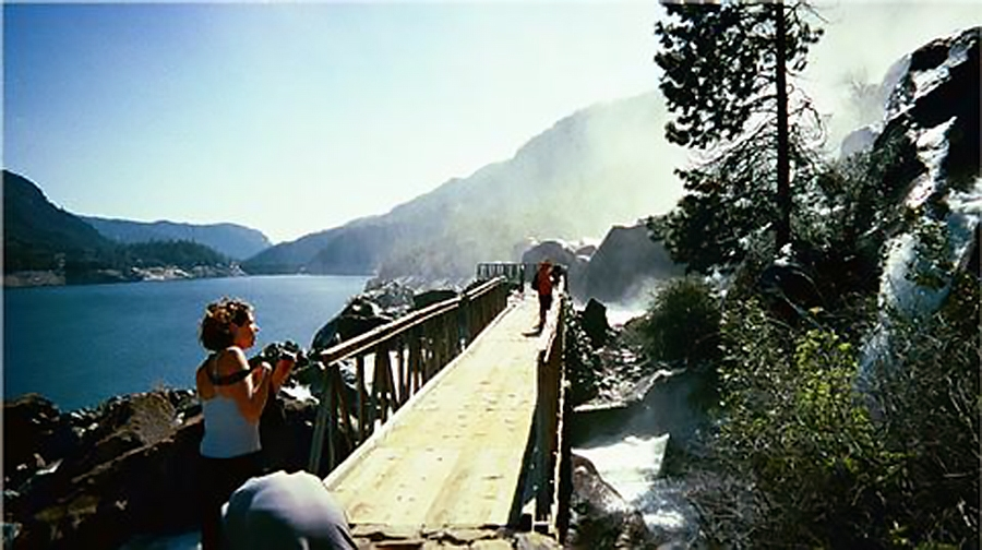 Lower Wapama Falls crashes across the Seven Bridges before plunging over a cliff to land in the Hetch Hetchy Reservoir.  (photo by D. Speredelozzi)