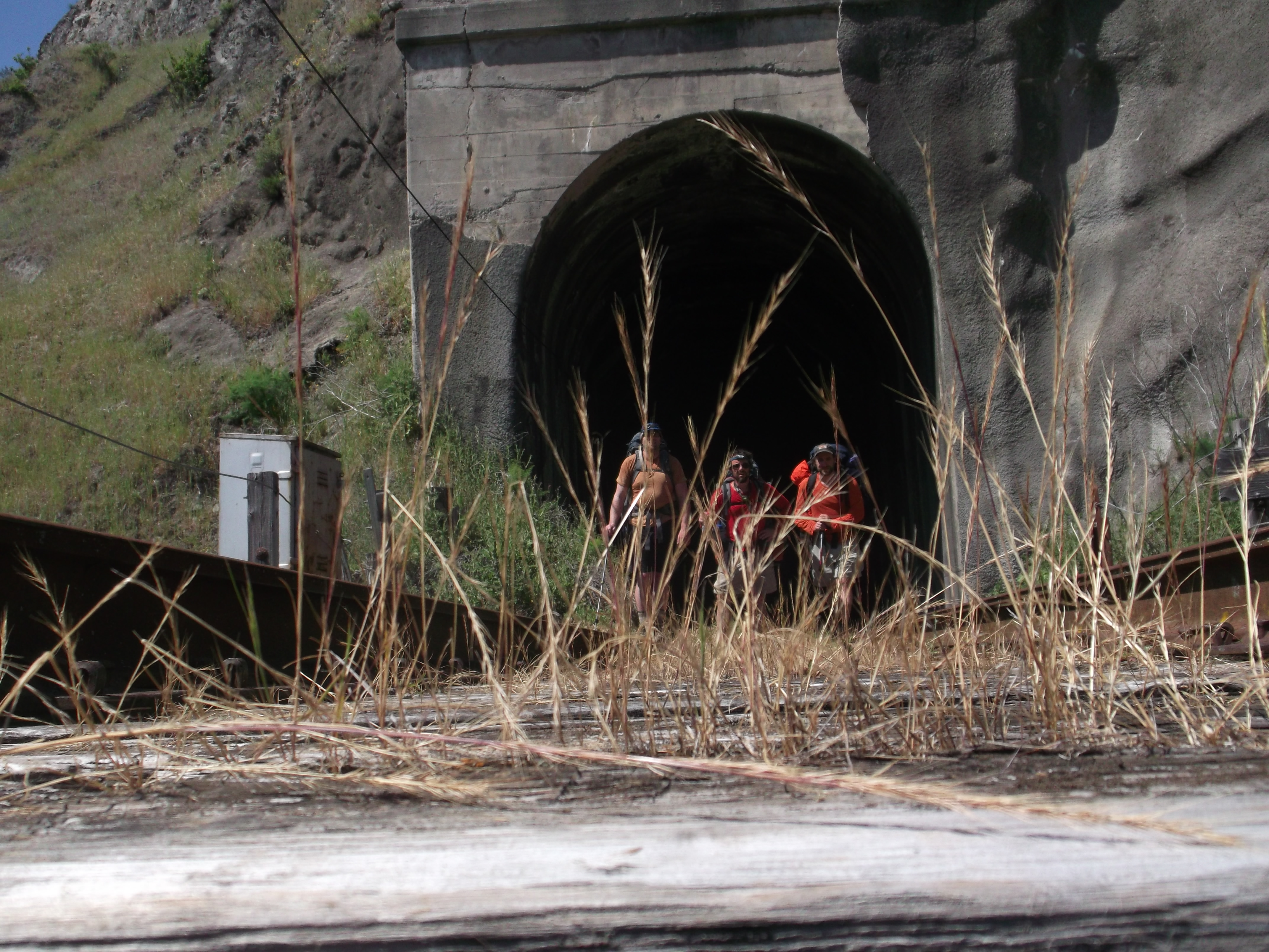 Issuing forth from the darkness of their subterranean shortcut, the three travelers are horrified to discover that the passage has somehow shrunken them to the size of children's toy action figures. (photo by Dr. Shrinker)