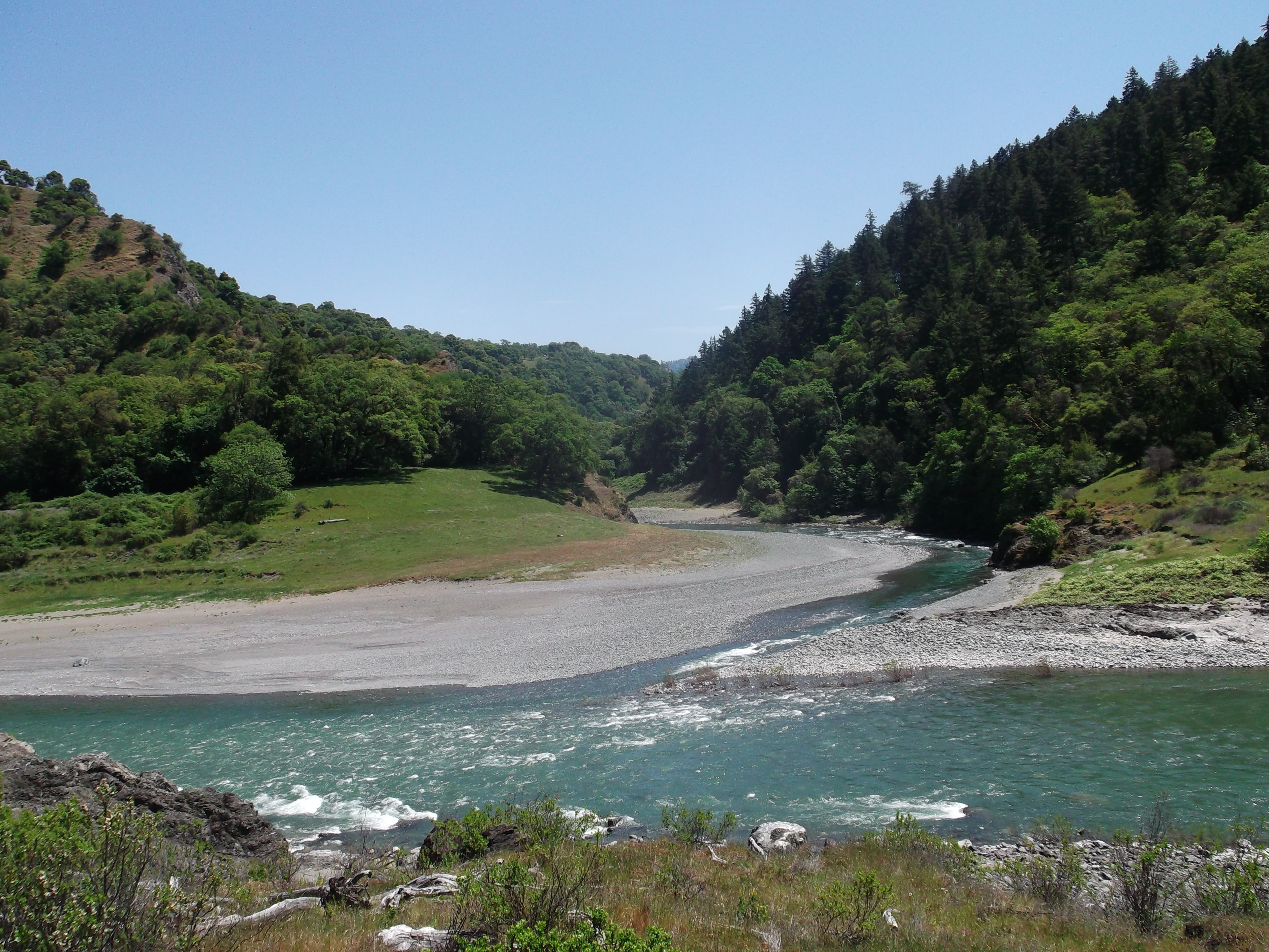 The North Fork of the Eel River joins the Main Fork, Mendocino County. (photo by D. Speredelozzi)