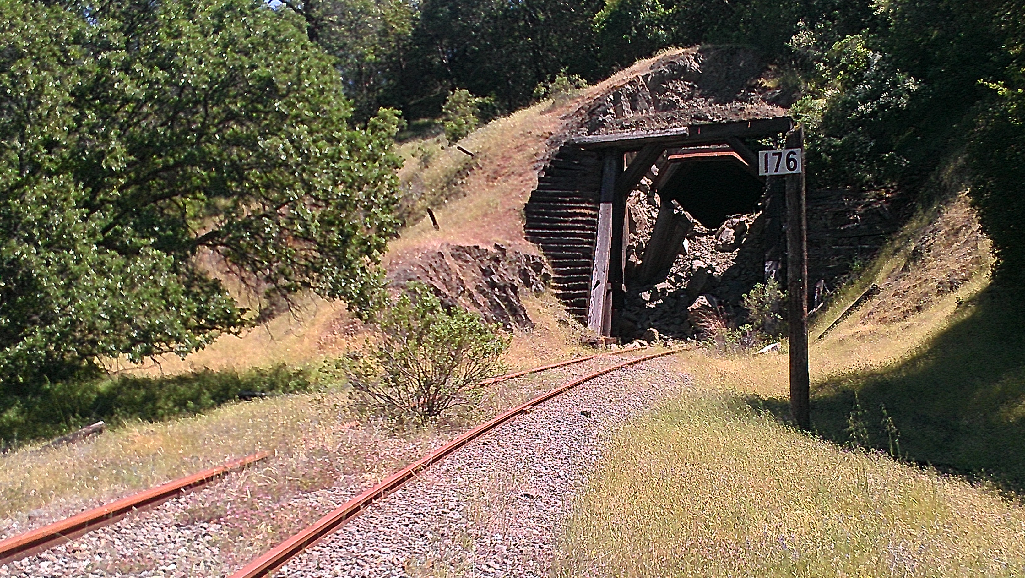 The collapsed remains of an old train tunnel along the Northwestern Pacific Railroad, Mendocino County. (photo by D. Speredelozzi)