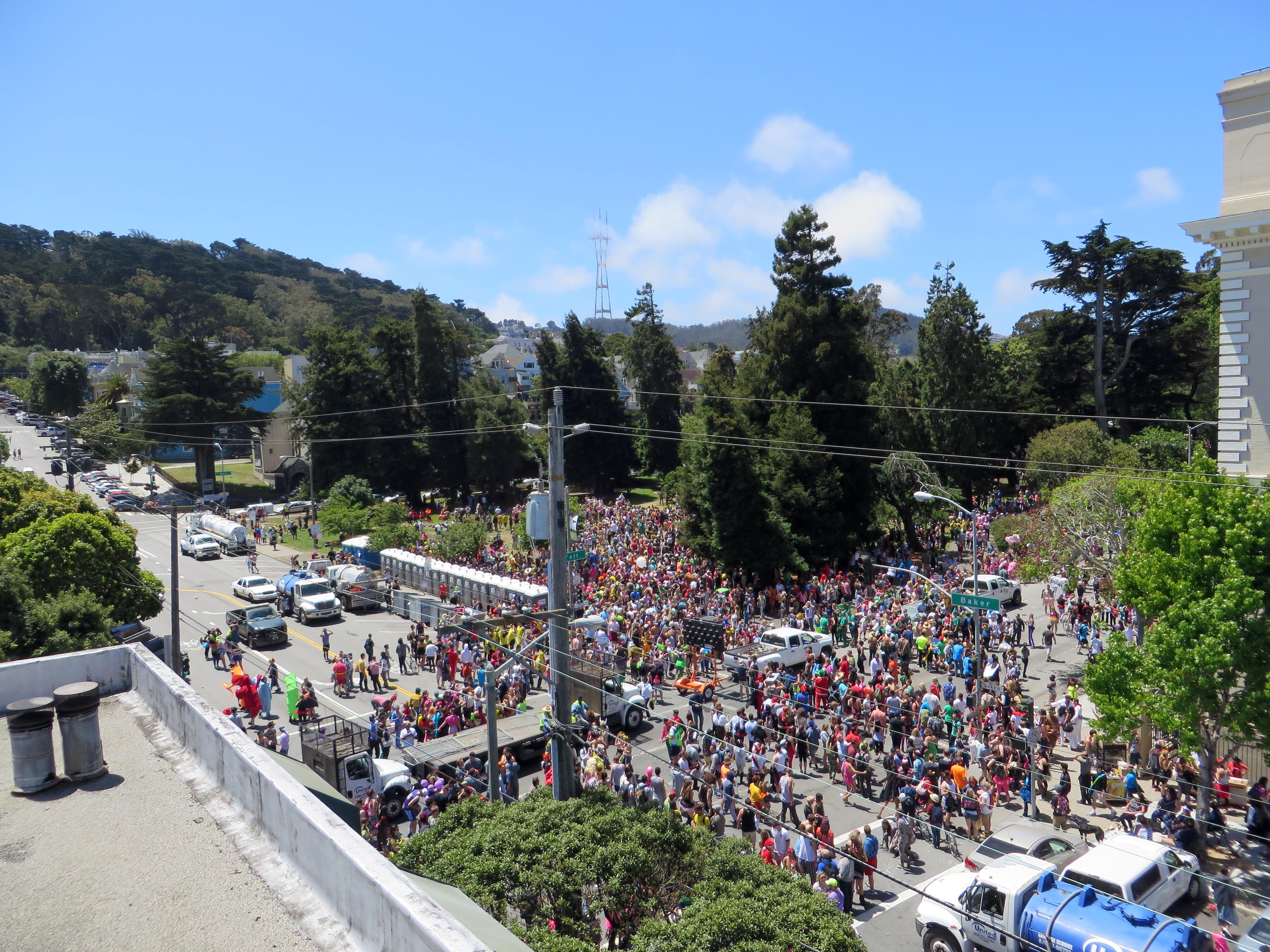 The Bay to Breakers revelry begins to splinter and break apart as it reaches Pandhandle Park, outlier of Golden Gate Park, seen here from your friendly blogmaster's rooftop. (photo by D. Speredelozzi)
