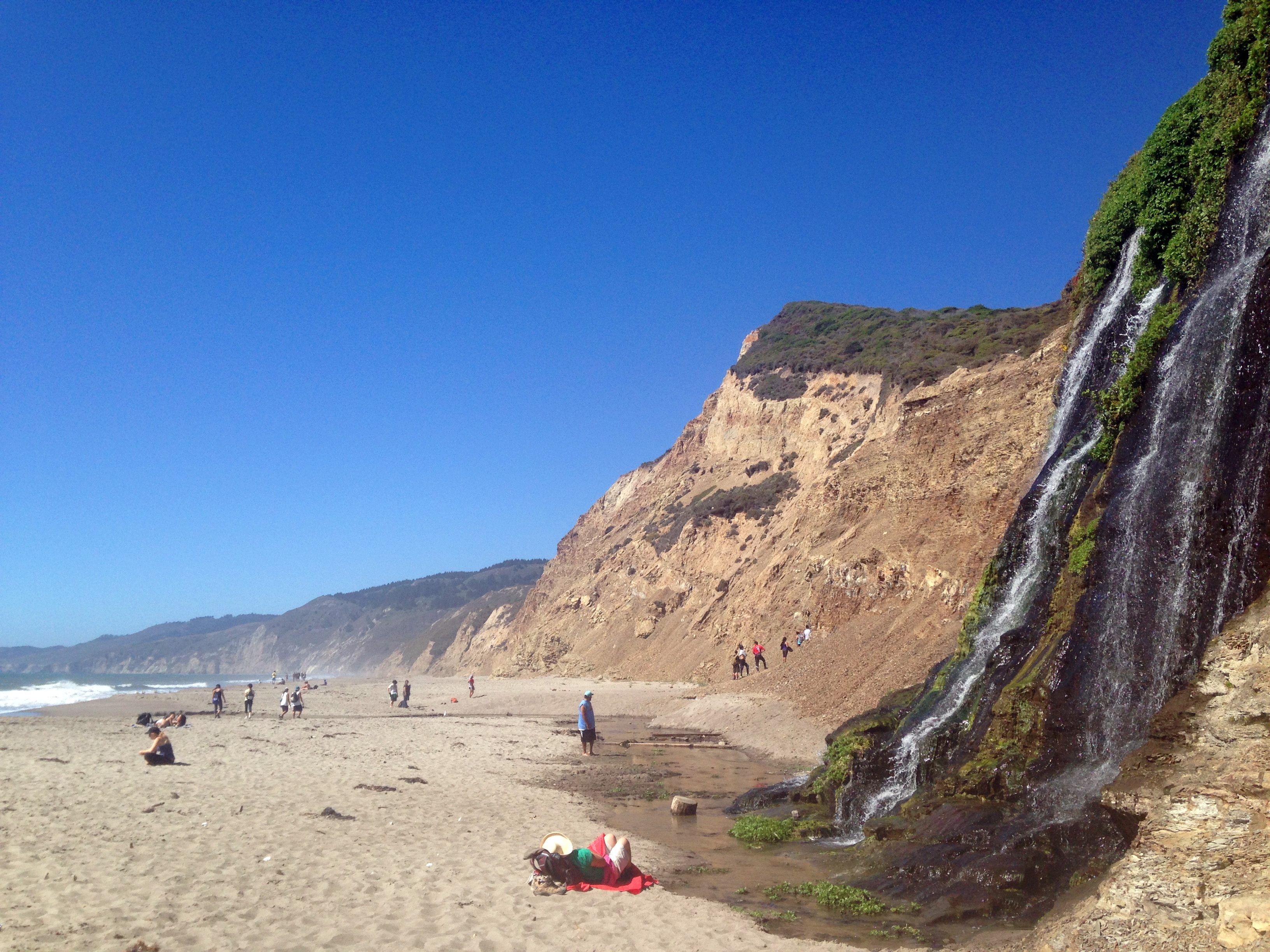 Wildcat Beach, with Alamere Falls dropping in from the right. (photo by D. Speredelozzi)