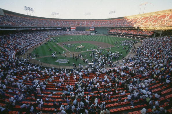Baseball: World Series: Overall view of Candlestick Park as players and fans evacuate stadium after Loma Prieta earthquake before Game 3 between San Francisco Giants and Oakland Athletics. San Francisco, CA 10/17/1989 CREDIT: Richard Mackson (Photo by Richard Mackson /Sports Illustrated/Getty Images) (Set Number: X39014 TK1 R9 F15 )