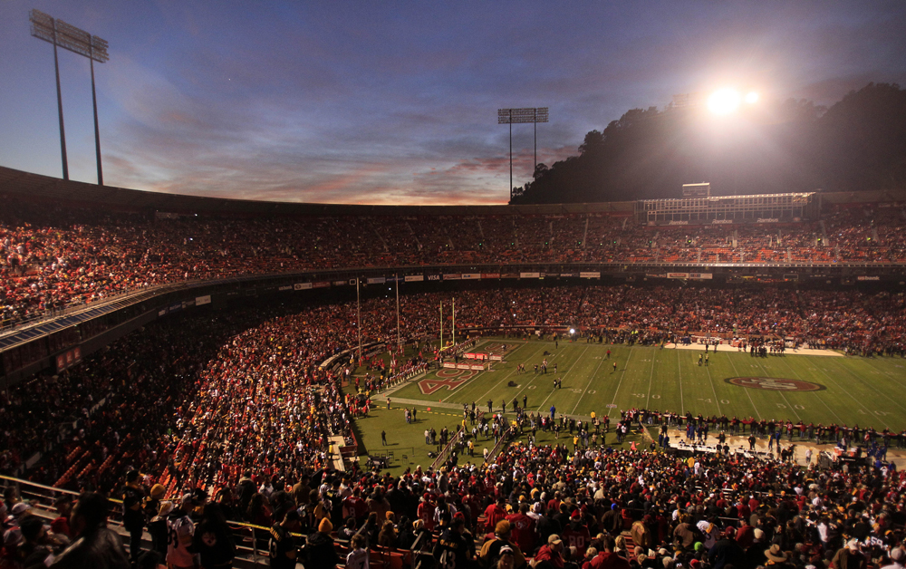 Candlestick Park is dimly lit during a power outage before an NFL football game between the San Francisco 49ers and the Pittsburgh Steelers in San Francisco, Monday, Dec. 19, 2011.  (AP Photo/Jeff Chiu)
