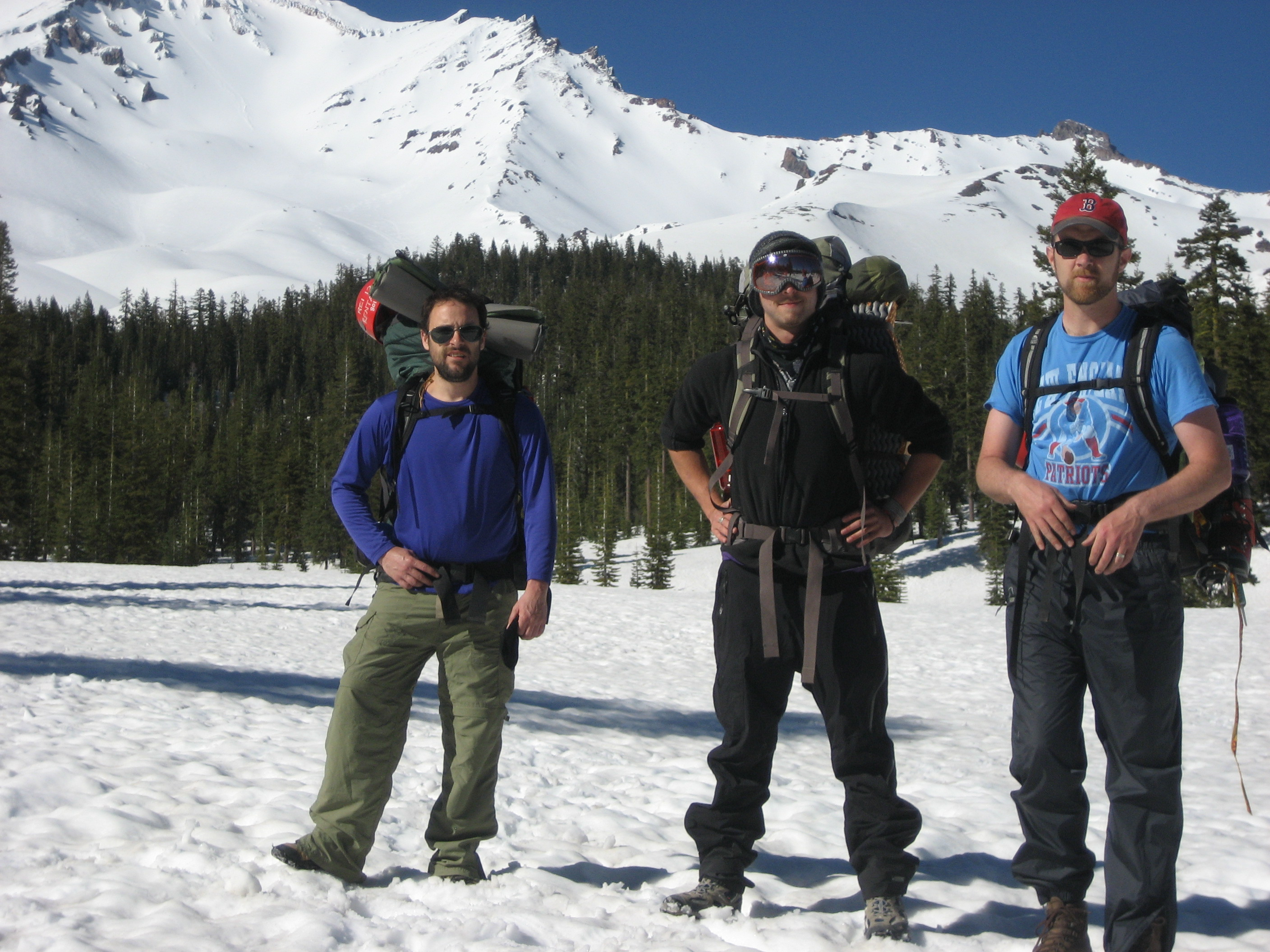 About to climb Mt. Shasta, 2010. (photo by some random dude who thought we were some kind of semi-famous elite mountain climbers or whatever)