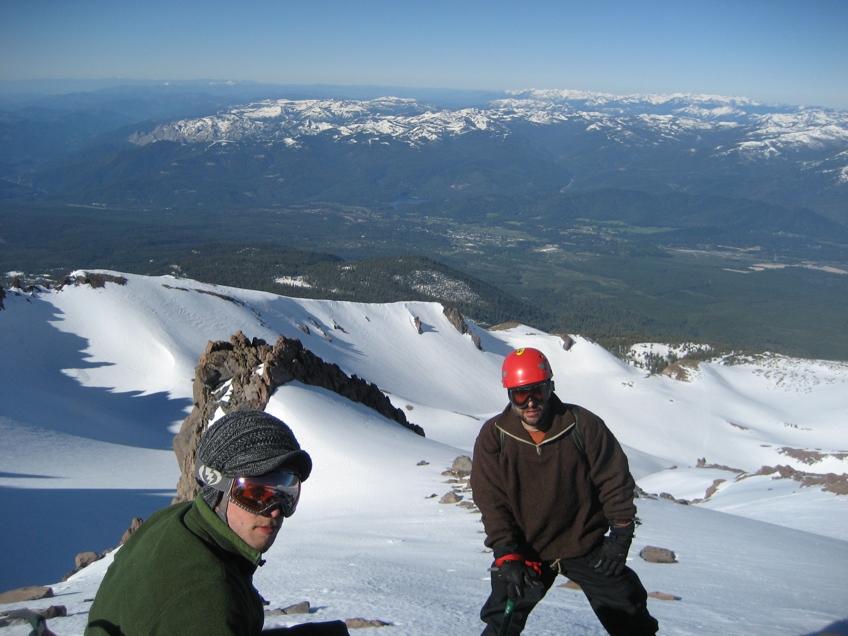 About to descend Mt. Shasta (by helicopter), 2010. (photo by D. Moore)
