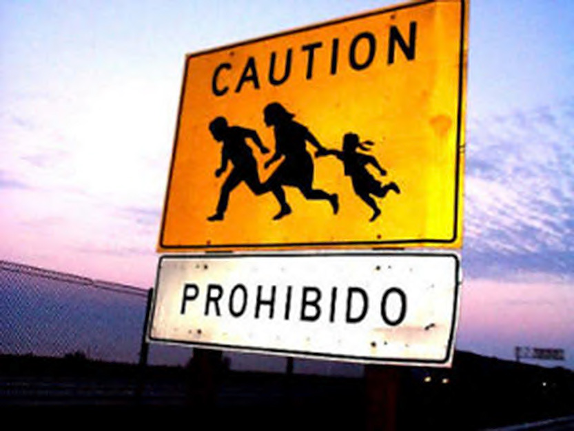 "Real-Life ""Frogger"" Zone Ahead: Proceed With Caution. These signs appear with increasing frequency along the southbound lanes of San Diego-area freeways as one approaches the border crossing at Tijuana. (image by worddrum.wordpress.com)"