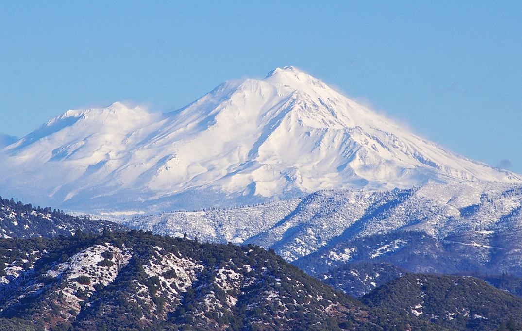 Mount Shasta on a healthy snow year, seen here from the southwest. (photo by Eric Cassano)