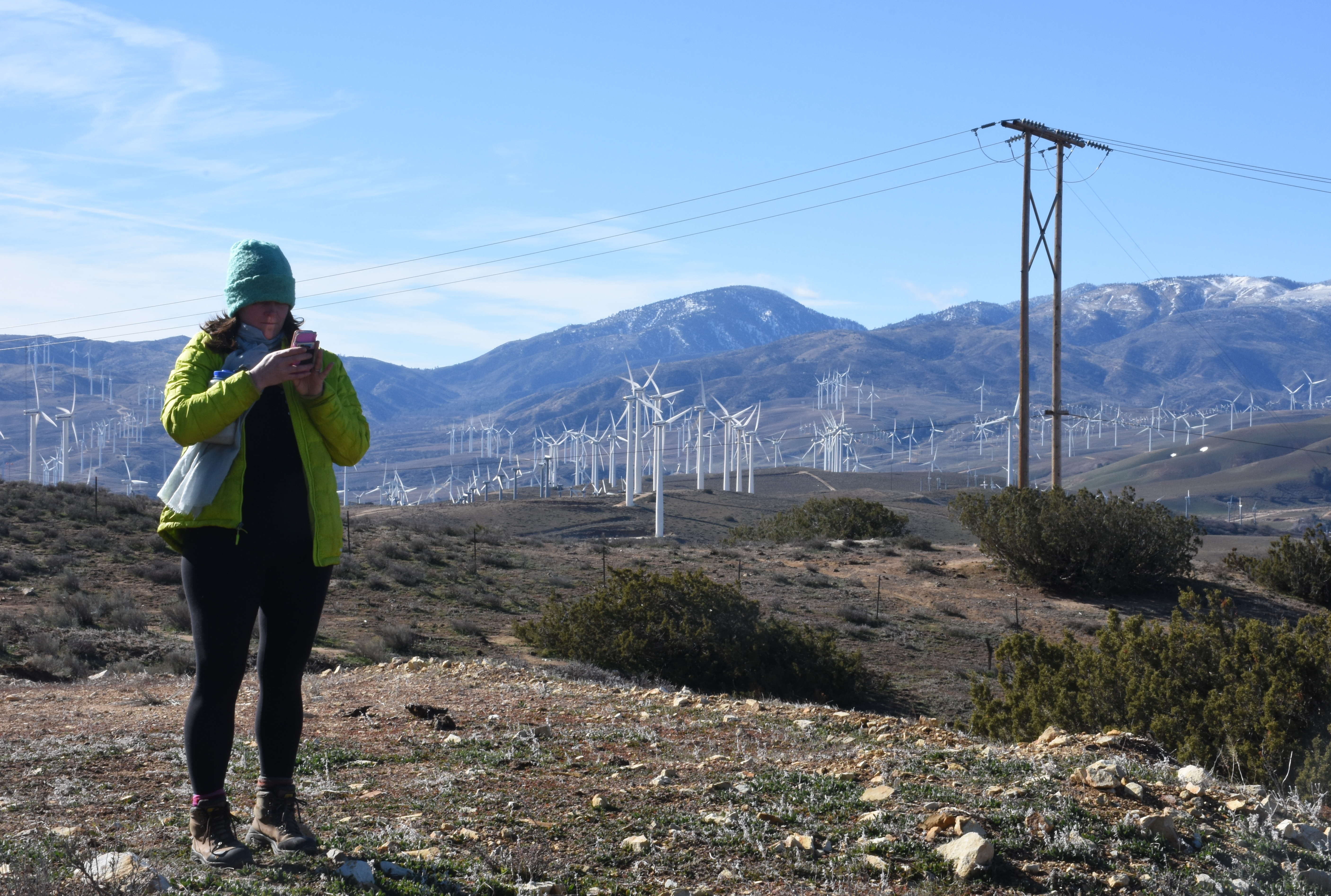 "Rather than being at the ridgetop Mojave Wind Farm, Katherine opts to tell the world that she's there. You know nowadays you haven't actually ""been"" somewhere until the social media sphere is hip. (photo by D. Speredelozzi)"