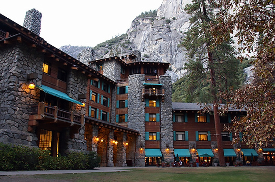 The north rim of Yosemite Valley towers over the WhatchamaFuckit Hotel. (image by www.examiner.com)